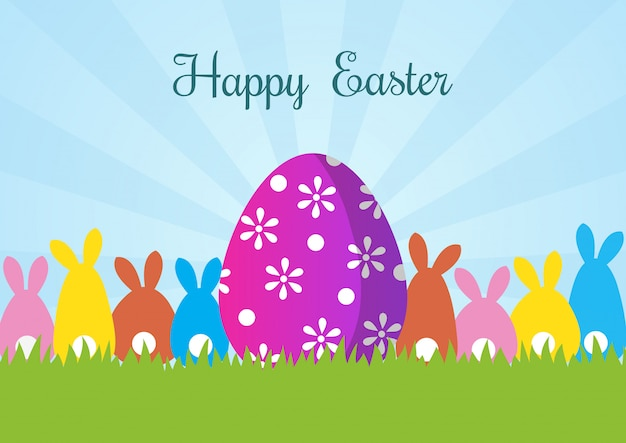 Glückliche ostern-grußkarte mit kaninchen und eiern
