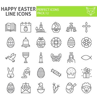 Glückliche ostern-linie ikonensatz, frühlingsfeiertagssammlung