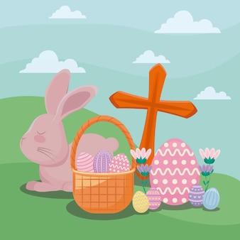 Glückliche ostern-tageskarte mit nettem kaninchen und ikonen