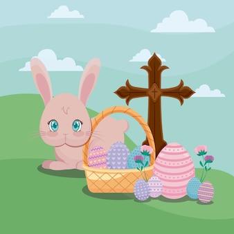 Glückliche ostern-tageskarte mit nettem kaninchen und kreuz
