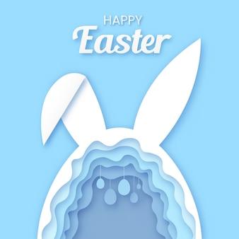 Glückliche osterngrußkartenschablone. kaninchenform, die ein kaninchenloch mit eiern auf pastellblau bildet