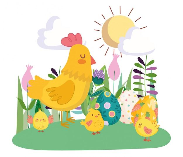 Glückliche osterniedliche henne und hühner mit eiern blüht blumensonntag
