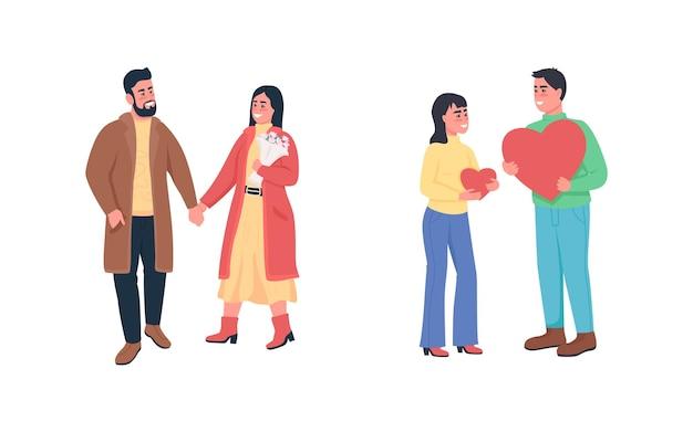 Glückliche paare in liebe flache farbe detaillierten zeichensatz. dating und flirten.
