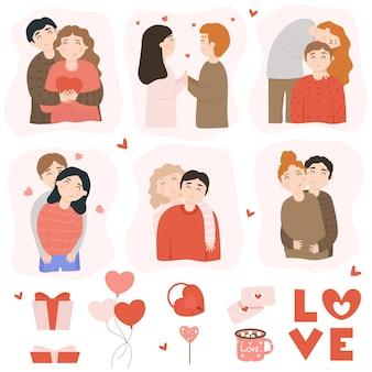 Glückliche paare und liebeselemente