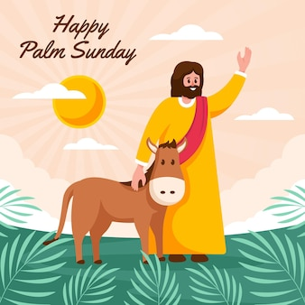 Glückliche palmensonntagsillustration mit jesus und esel