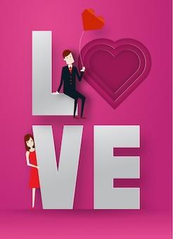 Glückliche papierkunstart der schicht des valentinstags 3d mit intelligentem kerl und nettem mädchen und text vector illustration