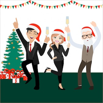 Glückliche parteigruppe geschäftsleute mit zeichentrickfilm-figur, frohen weihnachten und guten rutsch ins neue jahr