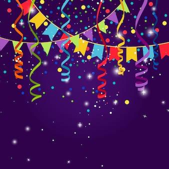 Glückliche party oder festlicher blauer hintergrund mit markierungsfahnengirlanden. dreieckige flaggen, flaggenkonfetti und papierserpentinenschnüre für jubiläumsfeier.