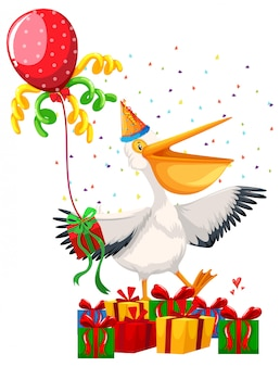 Glückliche party-pelikan-szene