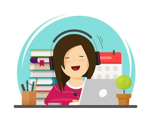 Glückliche person, die über flache karikatur des laptops an schreibtisch auf arbeitsplatz studiert oder arbeitet
