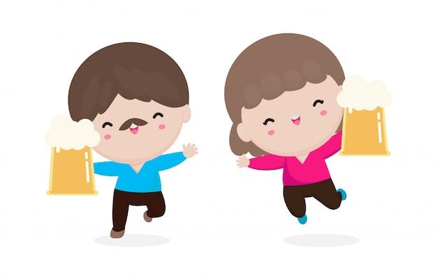 Glückliche person hält krug bier, niedlicher mann und frau charakter hält bierkrug. glückliches internationales biertagkonzept lokalisiert auf weißem hintergrund. freitag party illustration im flachen stil
