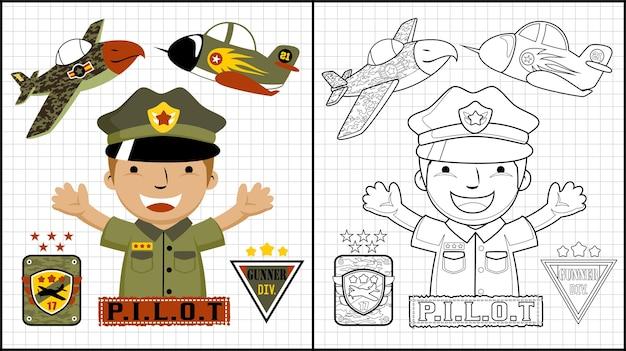 Glückliche pilotkarikatur mit militärflugzeugen