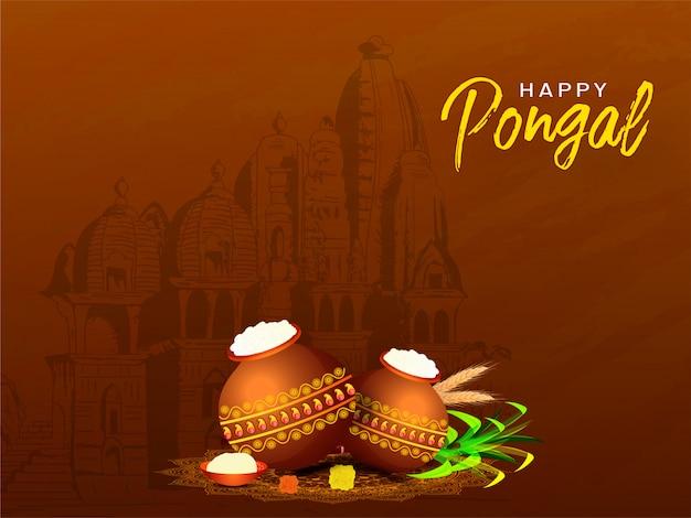 Glückliche pongal-grußkarte mit dem schlammtopf voll vom pongalireis, vom zuckerrohr und von der weizenähre vor tempelansicht über braun.