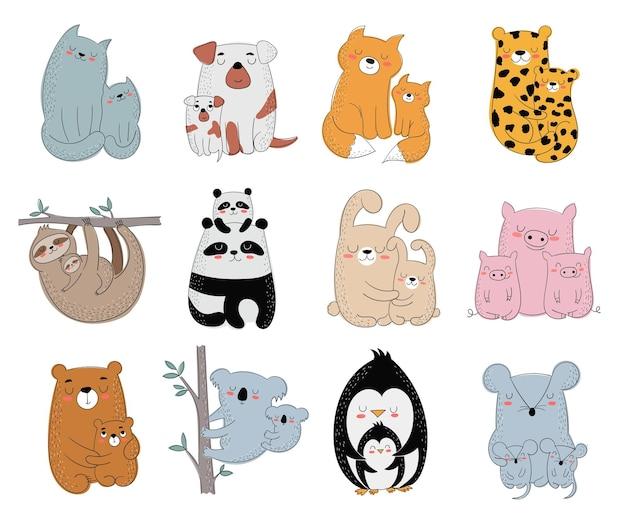 Glückliche postkarte zum muttertag. vektor-cartoon-doodle-illustrationen. mutterkatze mit einem kind. perfekt für postkarten, etiketten, broschüren, flyer, seiten, banner-design