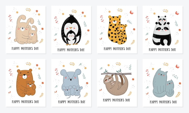 Glückliche postkartensammlung zum muttertag. vektor-cartoon-doodle-illustrationen. mutterkatze mit einem kind. perfekt für postkarten, etiketten, broschüren, flyer, seiten, banner-design