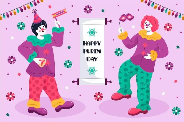 Glückliche purim tagesillustration mit clowns