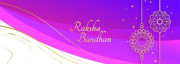 Glückliche raksha bandhan festival banner mit dekorativen rakhi