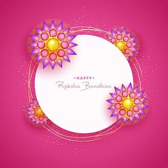 Glückliche raksha bandhan grußkarte mit rakhi.