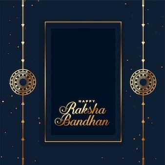Glückliche raksha bandhan indische festivalkarte mit rakhi