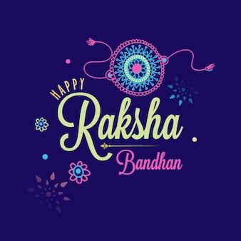 Glückliche raksha bandhan-schriftart mit blumen-rakhi auf purpurrotem hintergrund.