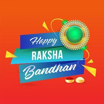 Glückliche raksha bandhan schriftart mit perle rakhi, kumkum und reis in der schüssel auf orange hintergrund.