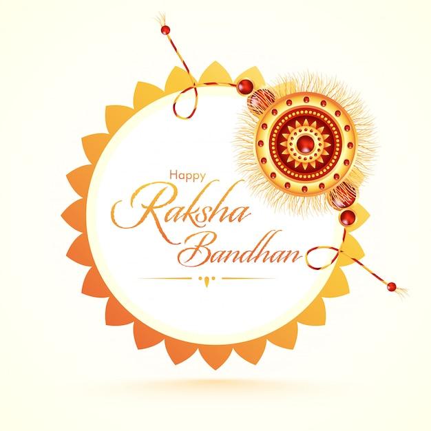 Glückliche raksha bandhan schriftart mit schönem rakhi (armband) auf weißem hintergrund.
