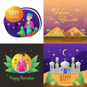 Glückliche ramadan-illustration