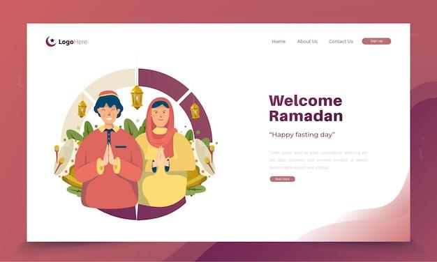Glückliche ramadan kareem illustrationsgrüße auf landingpage-konzept