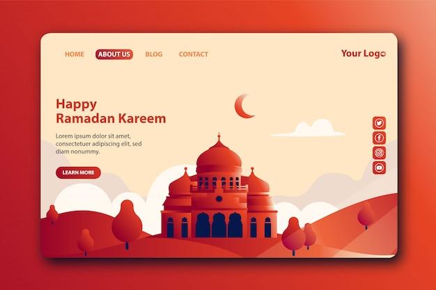 Glückliche ramadan kareem landing page