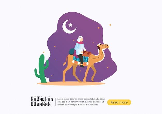 Glückliche ramadan mubarak grußkarte