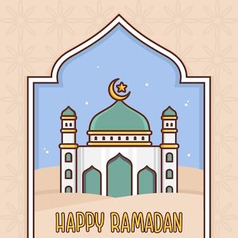 Glückliche ramadanillustration mit moschee und muster
