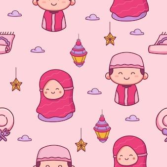 Glückliche ramadhan-hand gezeichnete illustration des glücklichen ramadhan des islamischen nahtlosen musters