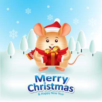 Glückliche ratte mit der roten kappe und rotem scraf, die eine geschenkbox für weihnachten tragen