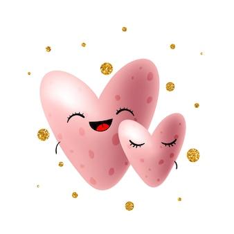 Glückliche rosa herzen verliebt. glückliche valentinstagillustration. vektor-eps10.