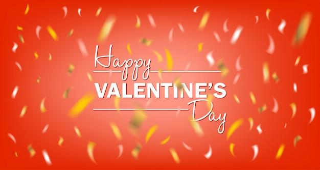 Glückliche rote karte des valentinsgruß-tages mit konfetti der goldenen folie
