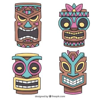 Glückliche sammlung von tribal tiki masken