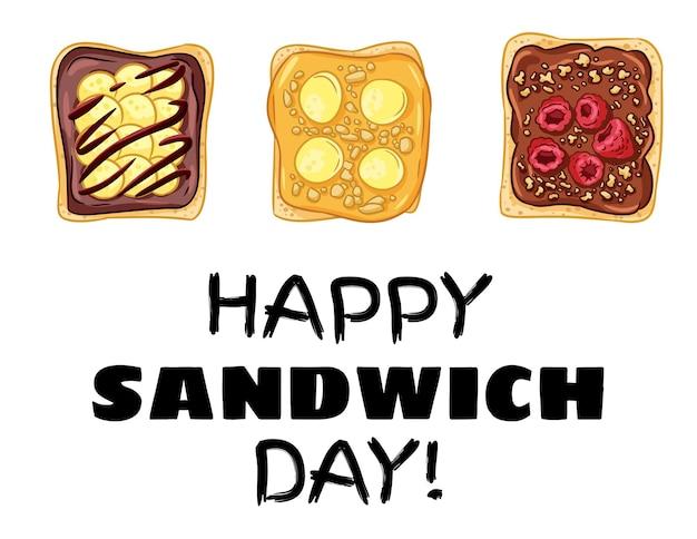 Glückliche sandwich-tagespostkarte. toastbrotsandwiches mit erdnussbutter, früchten und beeren gesundes plakat. frühstück oder mittagessen veganes essen. abbildung des vegetarischen essens auf lager