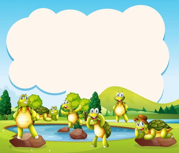 Glückliche schildkröte in der teichschablone