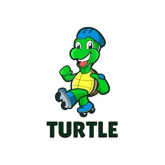 Glückliche schildkröte mit schlittschuh-maskottchenillustration