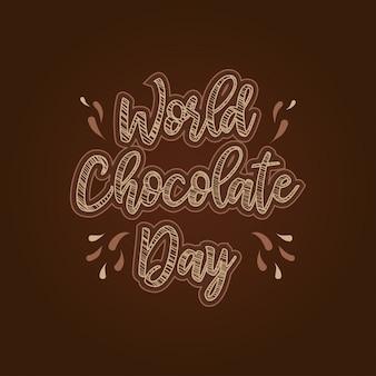 Glückliche schokolade gezeichnete typografie des tages hand