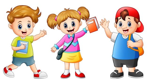 Glückliche schule scherzt karikatur