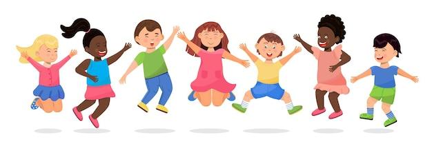 Glückliche schulkinder, die cartoon-kinder springen, haben spaß, jungen und mädchen laufen sprünge spielen