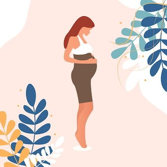 Glückliche schwangere frau hält ihren bauch verzierte schöne blättervektorillustration