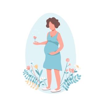 Glückliche schwangere frau im flachen stil