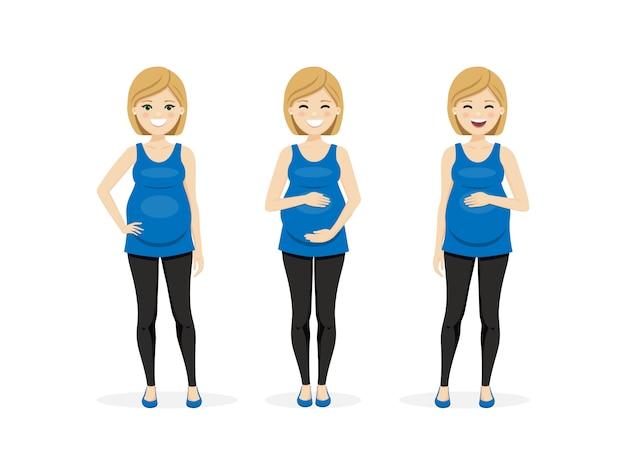 Glückliche schwangere frau in verschiedenen posen.