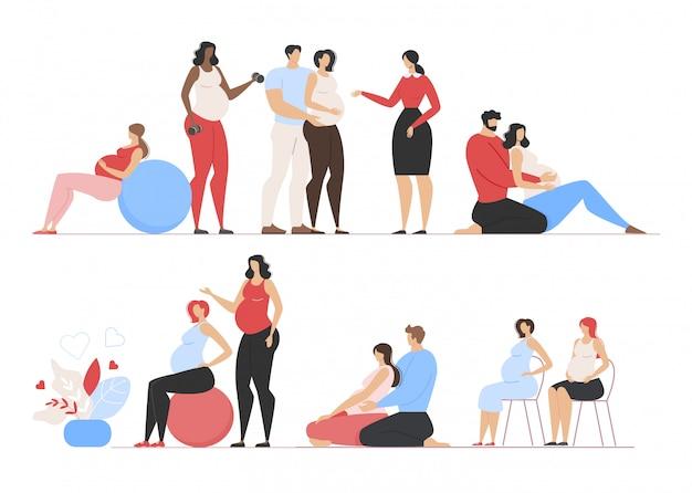 Glückliche schwangerschaftszeit und karikatur-junger familien-satz