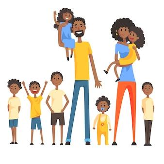 Glückliche schwarze familie mit vielen kindern porträt. lächelnde eltern bunte illustration