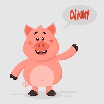 Glückliche schwein-zeichentrickfilm-figur, die für den gruß wellenartig bewegt