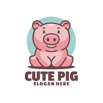 Glückliche schweine mit leuchtenden farben lassen glück von diesem logo ausstrahlen