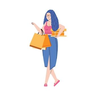Glückliche shopper junge frau trägt einkäufe ein isoliert auf weiß